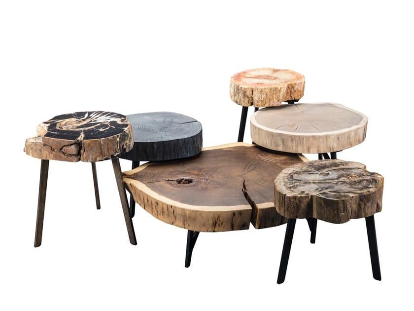 Niedriger runder Kaffeetisch aus massivem Holz BC05 STOMP by JANUA
