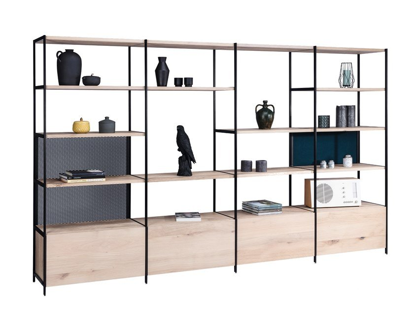 Open solid wood bookcase BC06 ROOM 68 | Wooden bookcase by JANUA