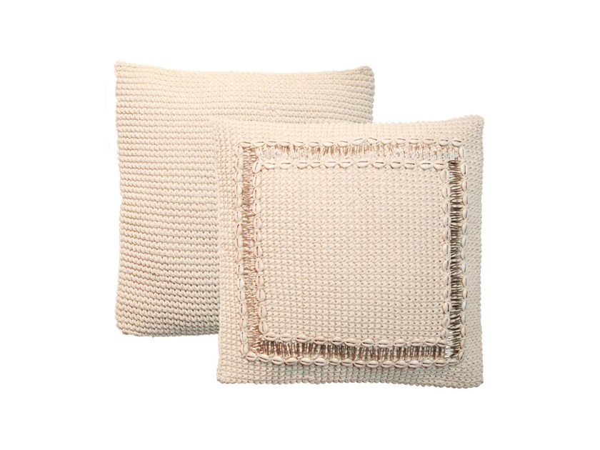 Square hand embroidered cotton cushion BEADED BORDER by Bazar Bizar