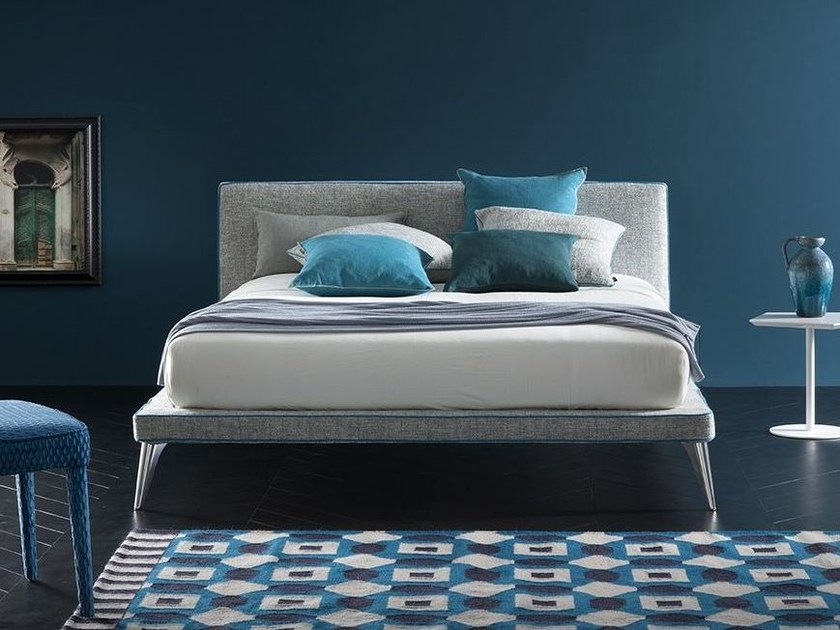 Fabric bed with removable cover with upholstered headboard BEAT by Chaarme Letti
