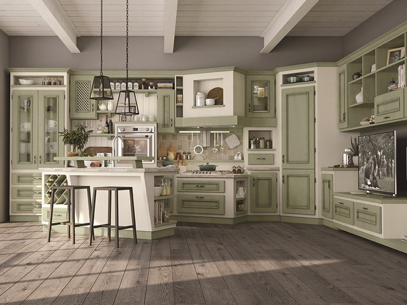 Poplar kitchen with handles BEATRICE By Cucine Lube