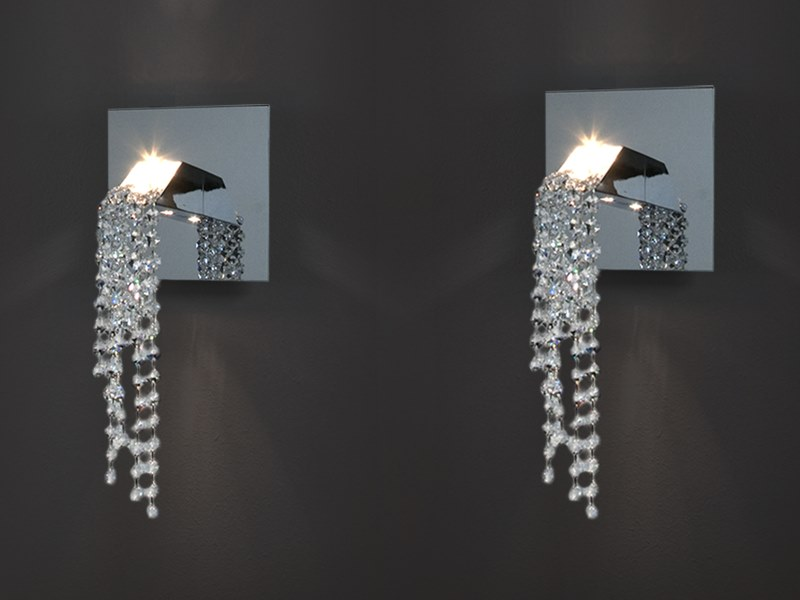 Indirect light metal wall lamp with Swarovski® crystals BEAUTY OF SILENCE W1 by ILFARI