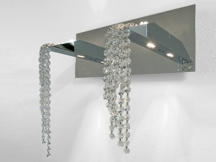 Indirect light metal wall lamp with Swarovski® crystals BEAUTY OF SILENCE W2 by ILFARI