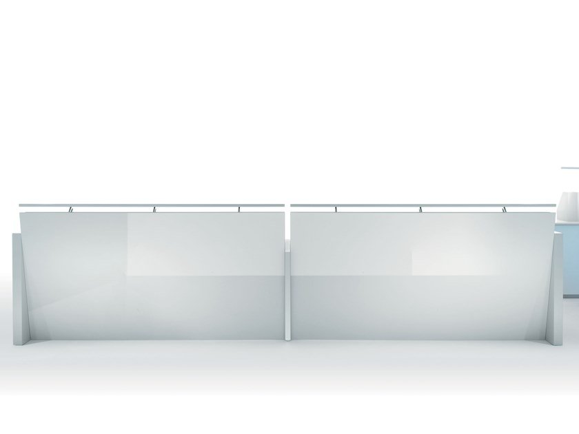 Reception desk in glossy white lacquered wood and glass BEAUTY TOUCH | Reception desk by Manerba