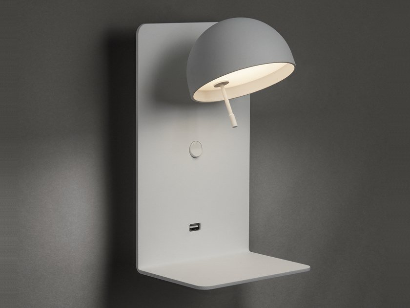 LED adjustable aluminium wall lamp with USB BEDDY A/02 by BOVER