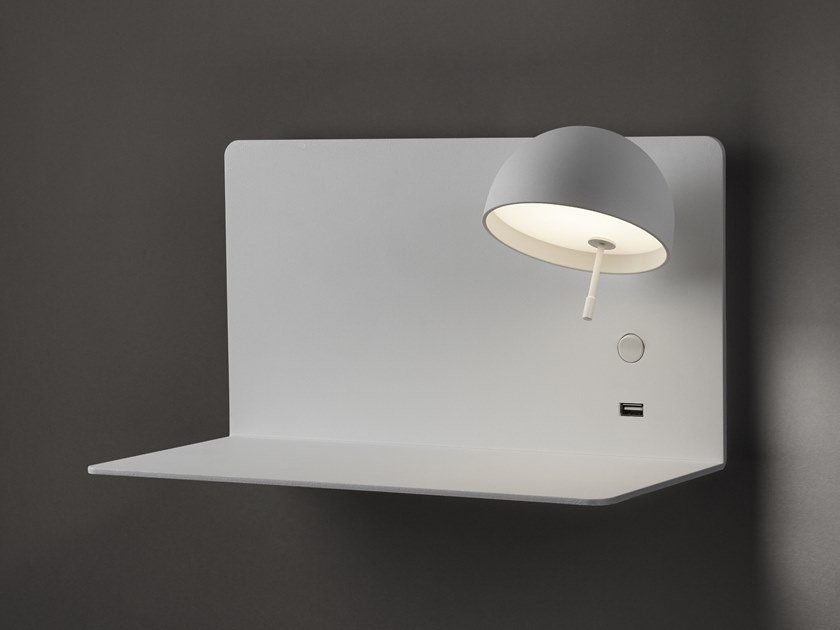 LED adjustable aluminium wall lamp with USB BEDDY A/03 by BOVER