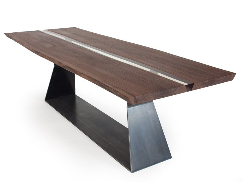 Rectangular solid wood table BEDROCK PLANK RESIN by Riva 1920