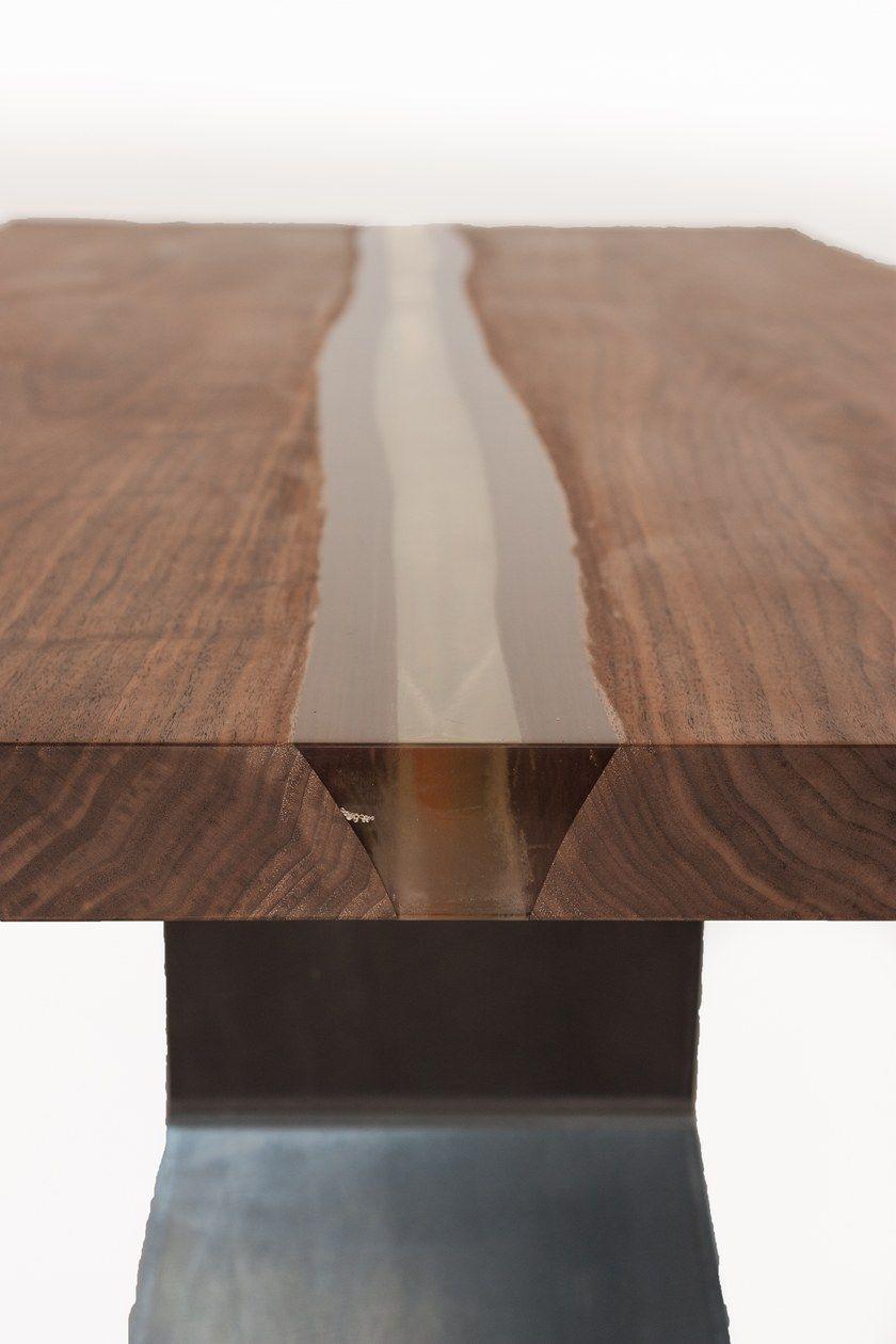 Rectangular Solid Wood Table Bedrock Plank Resin Bedrock