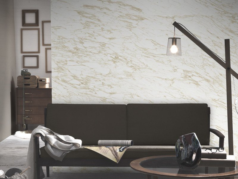 Washable panoramic wallpaper with marble effect BEIGE ARABESCATO MARBLE | Panoramic wallpaper by Koziel
