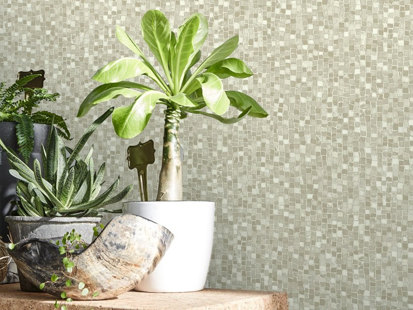 Washable nonwoven wallpaper BEIGE MOSAIC | Wallpaper by Koziel