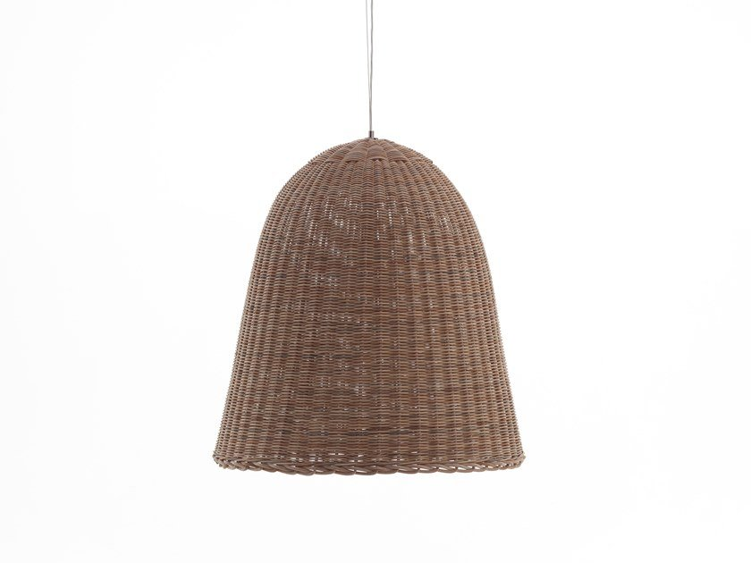 Woven wicker pendant lamp BELL 95 by Gervasoni