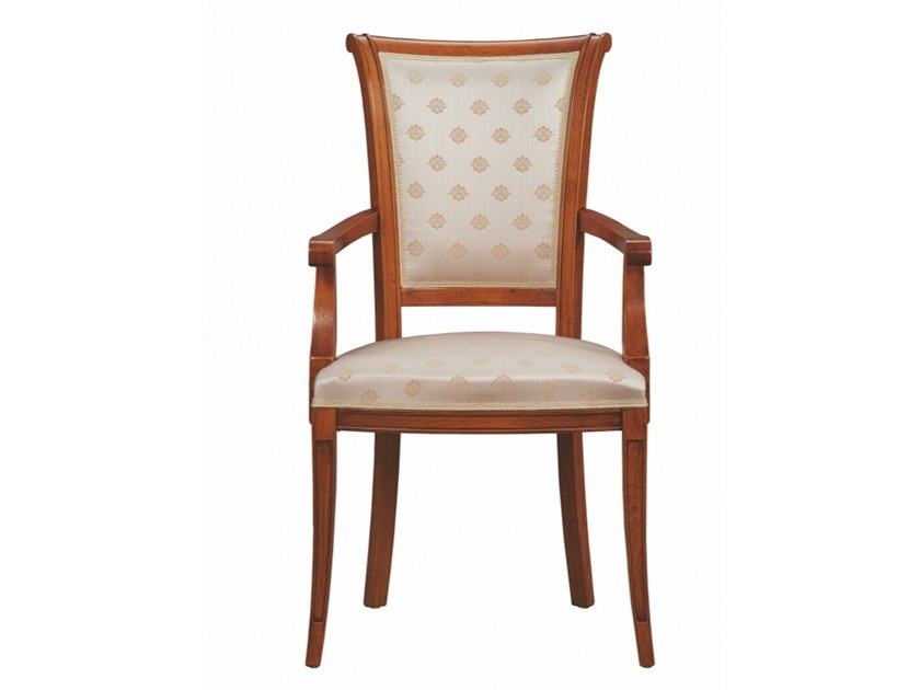 Upholstered open back beech chair with armrests BELLAGIO | Chair with armrests by SELVA