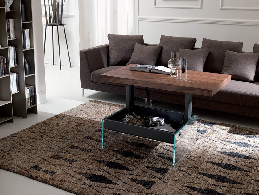 Height-adjustable rectangular wooden coffee table BELLAGIO by Ozzio Italia