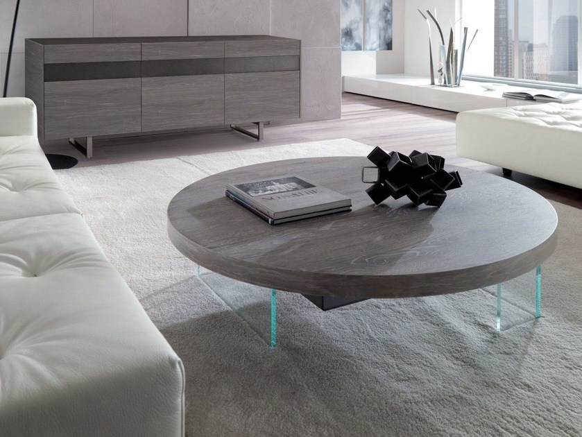 Height-adjustable round coffee table BELLAGIO ROUND by Ozzio Italia