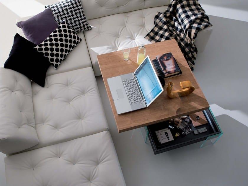 Height-adjustable square wooden coffee table BELLAGIO | Square coffee table by Ozzio Italia