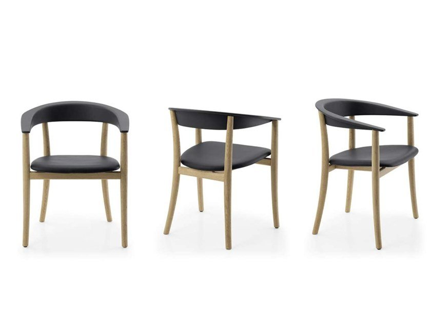 Sedie Design Legno E Pelle.Sedia In Legno E Pelle Con Braccioli Belle By B B Italia Design