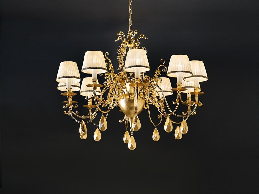 Direct-indirect light chandelier with crystals BELLE EPOKE 10 by Masiero