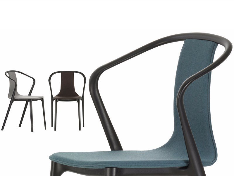 Upholstered fabric chair with armrests BELLEVILLE ARMCHAIR FABRIC by Vitra