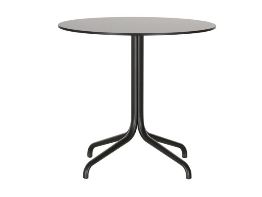 Round table with steel base and wooden top BELLEVILLE TABLE BISTRO | Round table by Vitra