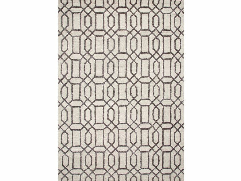 Rug with geometric shapes BELLEVUE TAQ-232 Antique white/Liquorice by Jaipur Rugs