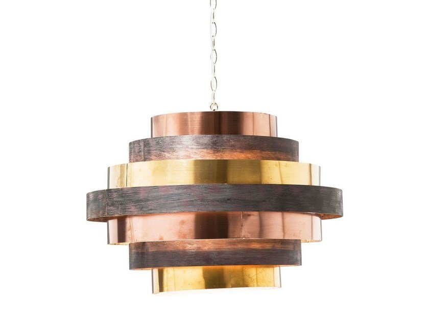 Indirect light steel pendant lamp BELT ROUND COFFEE by KARE-DESIGN