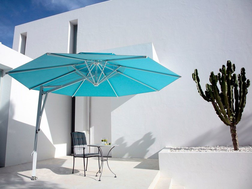 Offset adjustable round Garden umbrella BELVEDERE | Round Garden umbrella by Caravita