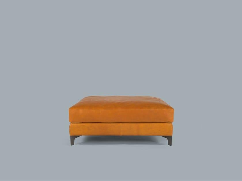 Upholstered leather pouf BEN | Pouf by Borzalino