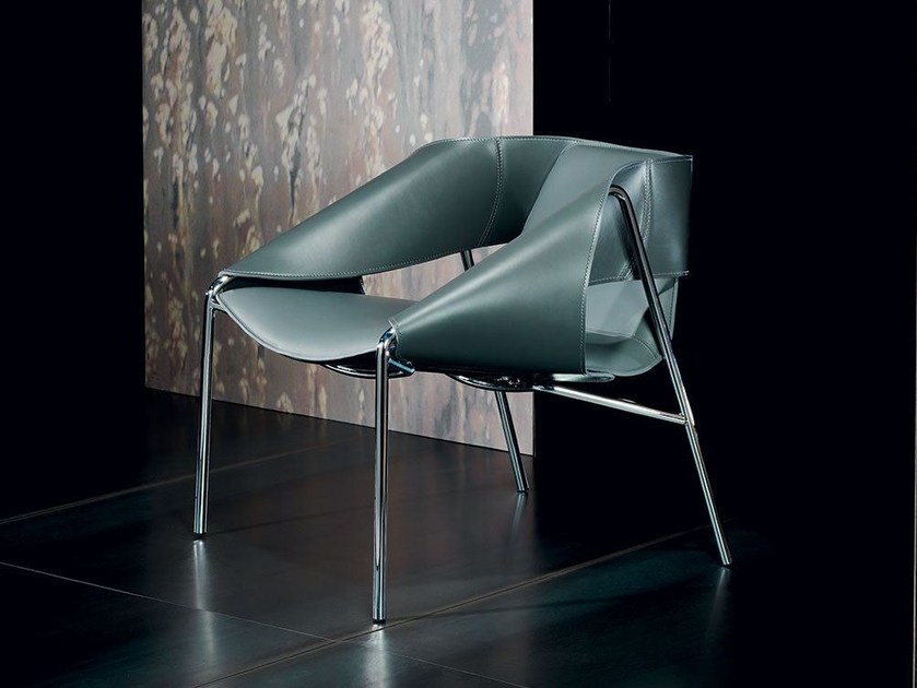 Relaxing tanned leather armchair with armrests BEND | Leather armchair by Italy Dream Design