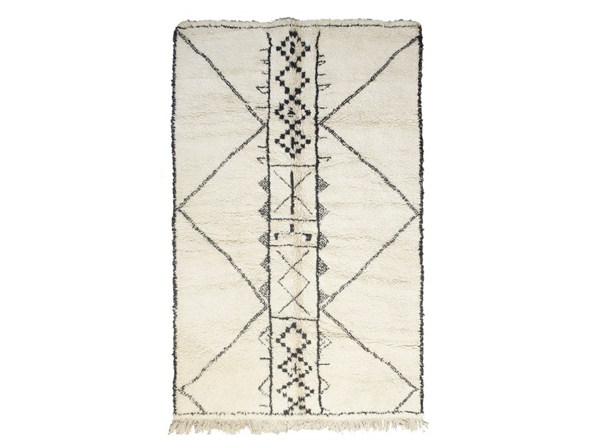 Rectangular wool rug with geometric shapes BENI OURAIN TAA1256BE by AFOLKI