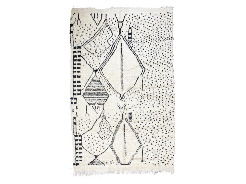 Patterned rectangular wool rug BENI OURAIN TAA1269BE by AFOLKI