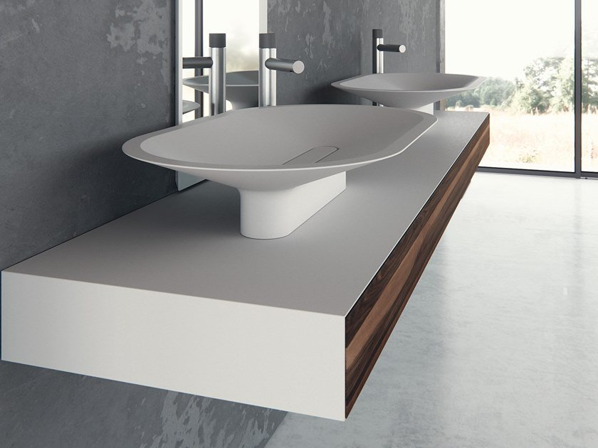 Countertop oval Meridian Solid Surface® washbasin BENITIER-01 by Le Projet