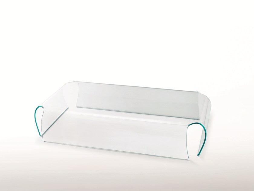 Low Rectangular Or Square Crystal Coffee Table BENT GLASS TABLE By Glas  Italia
