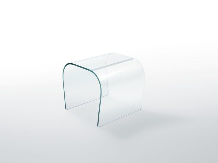 Low crystal stool BENT GLASS STOOL by Glas Italia