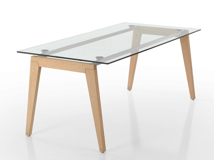 Wood and glass table BEPPE by Caimi Brevetti