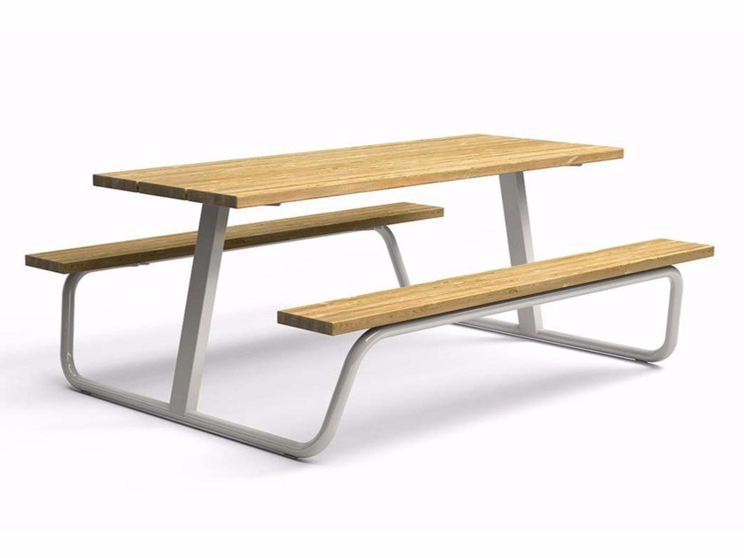 Steel and wood picnic table with integrated benches BERG   Picnic table by VESTRE