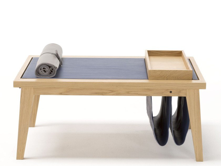 Low rectangular oak coffee table with tray BERGEN by Egoitaliano