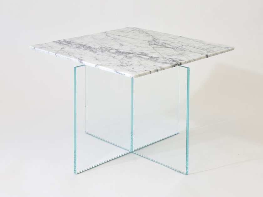 Contemporary style square marble high side table BESIDE MYSELF by CLASTE