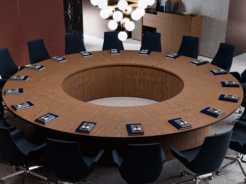 BESPOKE CONFERENCE TABLES Round Meeting Table By PROF - Round wood conference table