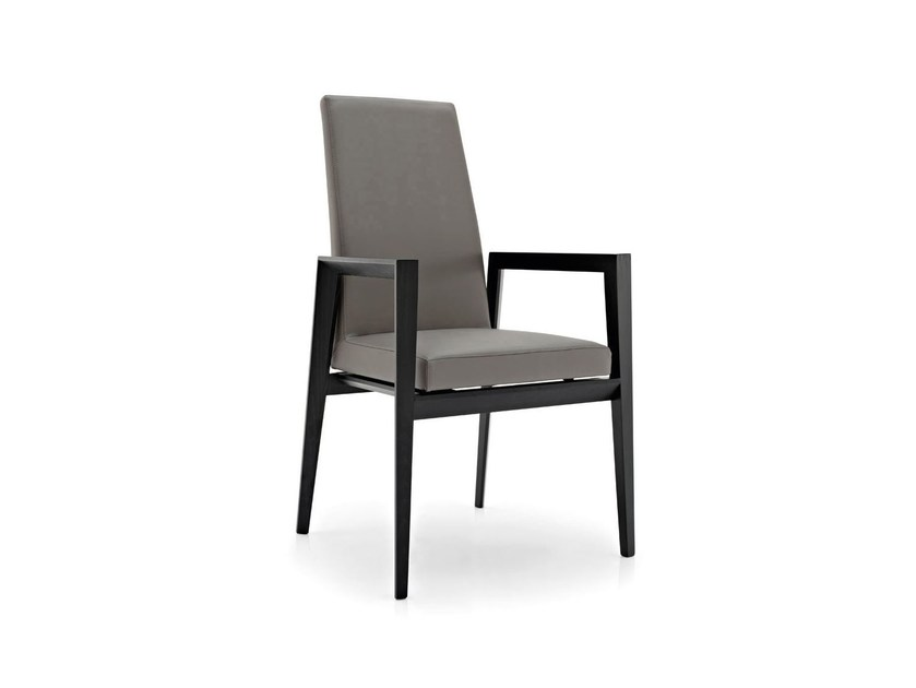 Leather chair with armrests BESS | Chair with armrests by Calligaris