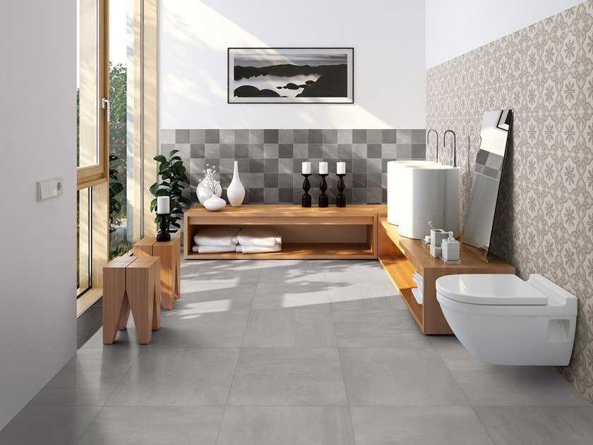 Porcelain stoneware wall/floor tiles with encaustic effect BETONGREYS by Terratinta Ceramiche
