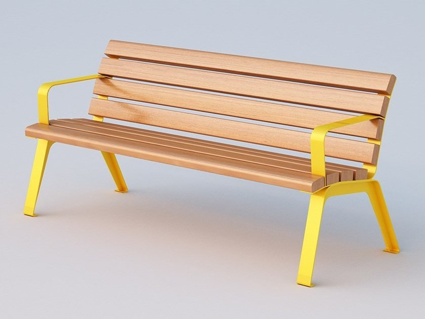 Okumè Bench with armrests BETTY | Bench with armrests by DIMCAR