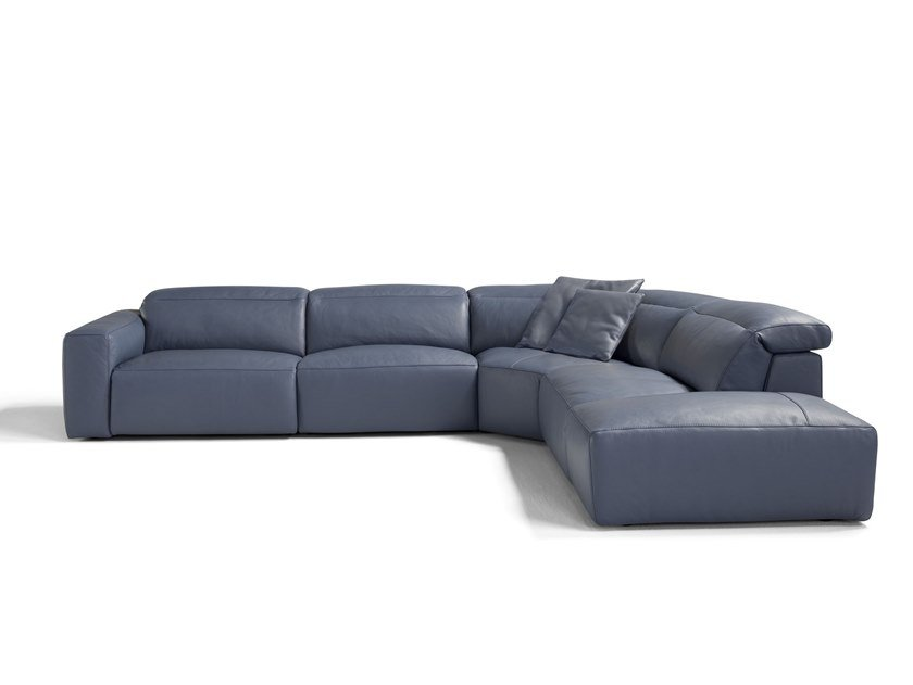 Corner Modular Recliner Leather Sofa Beverly By Egoitaliano