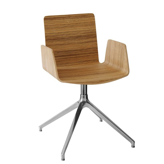 Swivel wooden guest chair with 4-spoke base BEVERLY EIFFEL by Vela Arredamenti