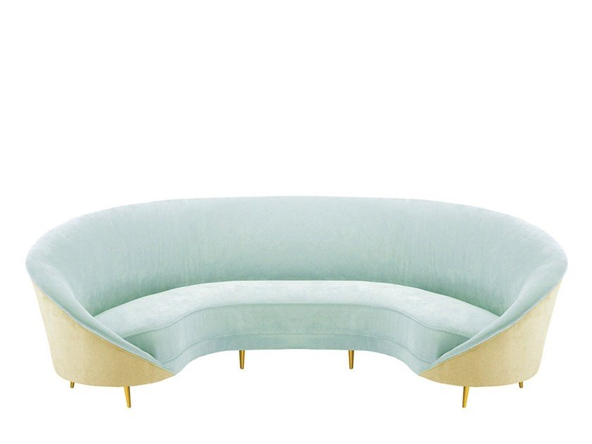 50s style 4 seater curved brass sofa BEVERLY by Moanne