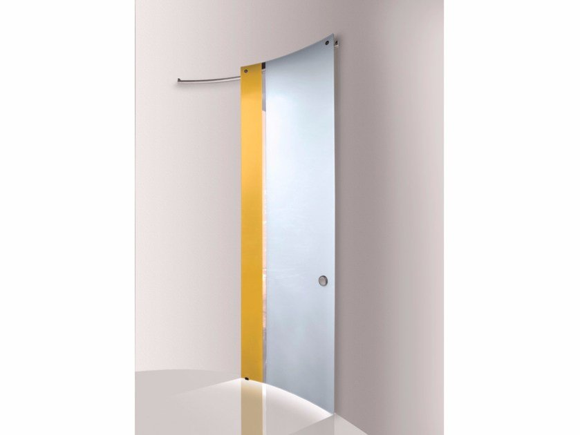 Stained glass sliding door BI•COLOR ZOLFO – GHIACCIO by Casali