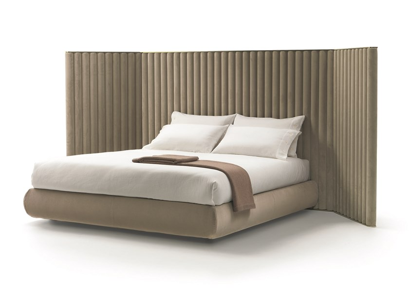 Fabric bed double bed with high headboard BIARRITZ by Mood by Flexform