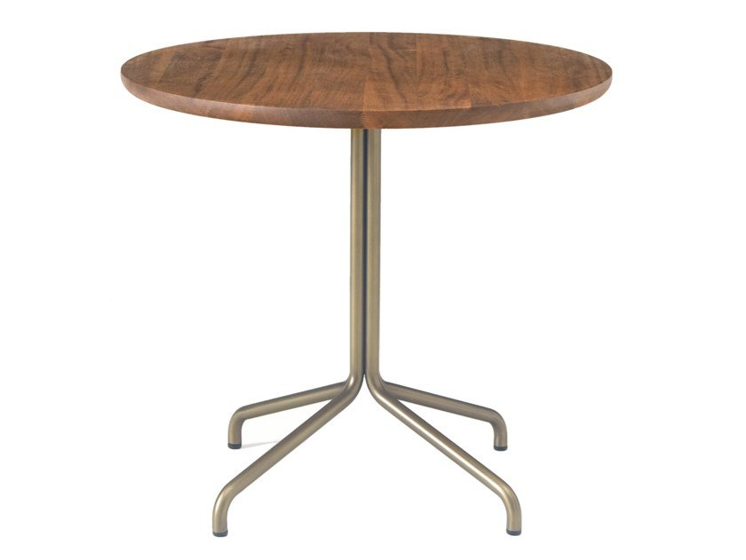 Round stainless steel and wood table with 4-star base BICORN | Table by BassamFellows