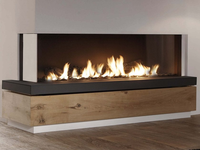 Gas corner steel fireplace with panoramic glass BIDORE by Element4