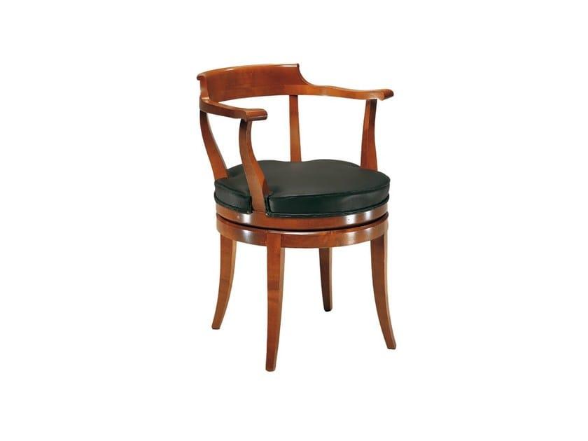 Swivel cherry wood chair with armrests BIEDERMEIER   Swivel chair by Morelato