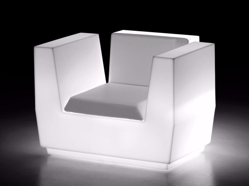 Polyethylene armchair with light with armrests BIG CUT LIGHT by Plust
